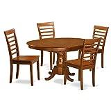 East West Furniture POML5-SBR-W 5-Piece Dining Table Set
