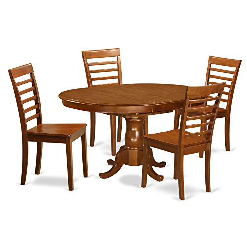 East West Furniture POML5-SBR-W 5-Piece Dining Table Set