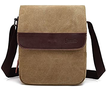 Good god Mens Small Vintage Khaki Canvas Messenger Bag Ipad Shoulder ... 2ff3d1402125a