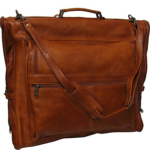 Amerileather Leather Three-Suit Garment Bag,Brown,US (Double Gusseted Portfolio)