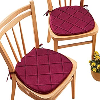 Quilted Memory Foam Cushioned Chair Pads With Ties   Set Of 2, Burgundy