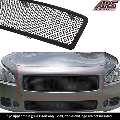 APS Compatible with 2009-2013 Nissan Maxima Carbon Steel Black 1.8 mm Wire Mesh Grille Insert