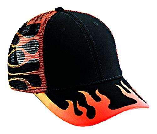 Flame Cap (Otto Caps Flame Pattern Cotton Twill Low Profile Pro Style Mesh Back Caps/Trucker Caps)