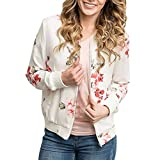 JSPOYOU 2018 New Coat Fashion Womens Casual Floral Print Top Coat Outwear Sweatshirt Jacket Overcoat (US-12 /CN-L2, White)