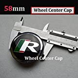 Hanway 58mm Jaguar R Logo Wheel Centre Caps Badge Sticker for Jaguar S-Typer F-Type XF XFR XFR-S XJ XK XKR Wheel Hubs Caps Emblem