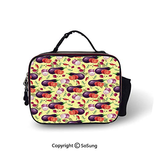 Eggplant Insulated Lunch Cooler Bag Eggplant Tomato Relish Onion Going Green Eating Organic Tasty Preserve Nature Decorative Fashion model Lunch Tote,10.6x8.3x3.5 inch,Multicolor