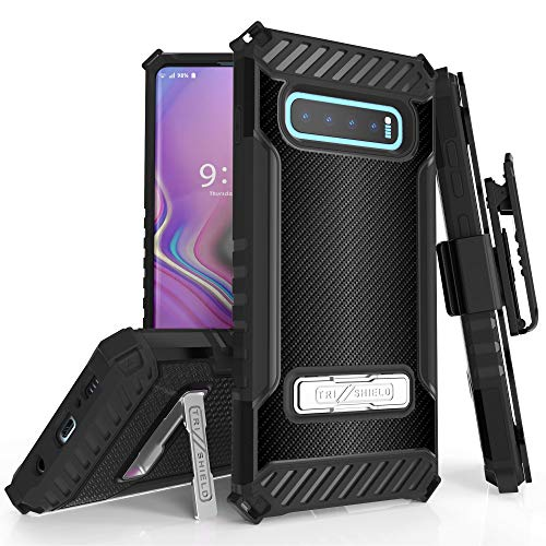 TRISHIELD Series Rugged Cover with + [Belt Clip Holster] + [Built in Kickstand] for Galaxy S10 Plus- Carbon Fiber Print
