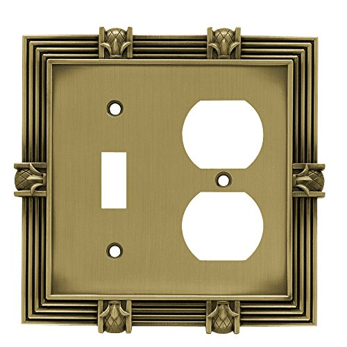 Liberty Hardware 64475 Pineapple Single Switch/Duplex Wall Plate, Tumbled Antique (Red Duplex Cables)