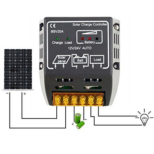 Amyove 20A 12V/24V Automatic-Identification Solar Panel Voltage Regulator Charge Controller Safe Protection