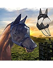 Horse Fly Mask, Adjustable Horse Mask with Ears Long Nose Elasticity Fly Mask Breathable and Comfortable Sunlight Protection for Protecting Horse(Black L)