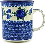 Polish Pottery Coffee/Tea Mug 20 oz (Blue Poppies)
