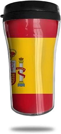 Taza de viaje de la bandera de España Taza de vacío portátil impresa, vasos de botella de agua con taza de té aislados para beber con tapa: Amazon.es: Hogar