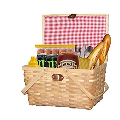 Vintiquewise QI003624 with Lid and Movable Handles Gingham Lined Woodchip Picnic Basket, Natural