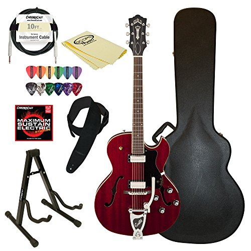 Guild Starfire III w/ GVT CHR-KIT-2 Hollow Body Electric Guitar, Cherry Red - Florentine 10 Light Single