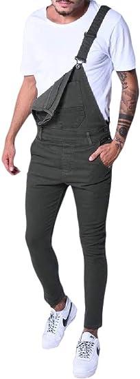 aicessess Men One Shoulder Slim Long Pants Bib Pants Adjustable Ankle Jeans