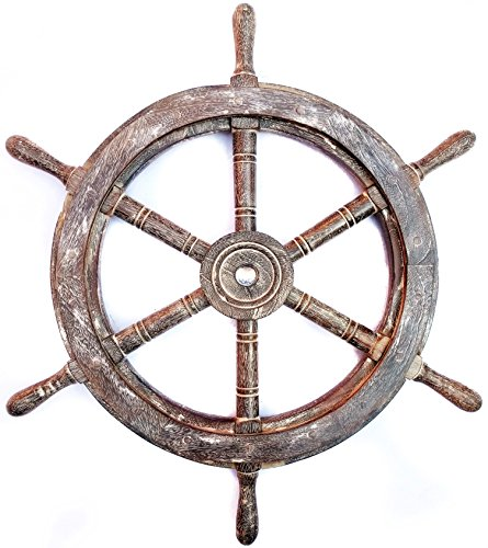Nautical Handcrafted Wooden Ship Wheel - Home Wall Decor - Nagina International (30 Inches, Antique Black)