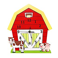 Teamson Design Corp Fantasy Fields - Happy Farm Animals Thematic Kids Wall Clock Best for Nursery Room Decor | Imagination Inspiring Hand Painted Details | Non-Toxic, Lead Free Water-based Paint