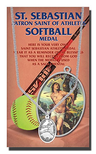 Softball Womens Saint Sebastian Genuine Pewter Medal With Stainless Chain Alcis Series Copyrighted Paul Herbert Blessing