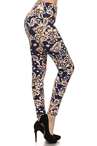 Leggings Depot Ultra Soft Women's Popular BEST Printed REGULAR and PLUS Size Fashion Leggings Batch14 (Regular (Size 0-12), Floral Paisley)
