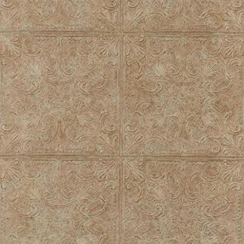 (York Wallcoverings PA131204 Weathered Finishes Tin Tile Wallpaper, Cork Brown/Red Berry Stain/Dark Chocolate)
