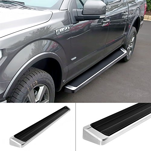 APS iBoard Running Boards Style Custom Fit 2015-2020 Ford F150 SuperCrew Cab Pickup 4-Door & 2017-2020 Ford F-250 F-350 Super Duty Crew Cab (Nerf Bars Side Steps Side Bars)