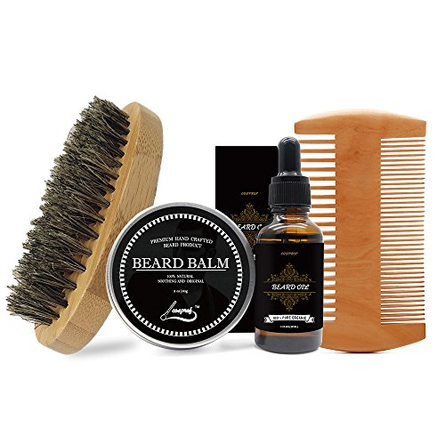 Beard Full Light (Cosprof Mens Beard Grooming Kit, Includes Beard Balm/Beard Oil/Beard Comb/Beard Brush - Daily Beard Care Set Keeps Beard and Mustache Healthy, Full and Soft)
