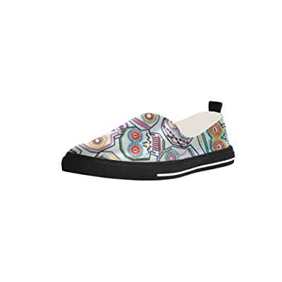 Colorful Tossed Skulls Slip-on Microfiber Rubber Out-sole EVA Insole Shoes For Womens