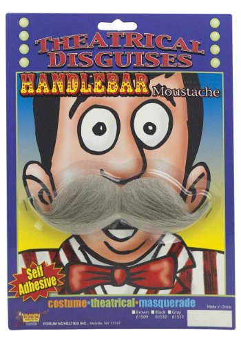 Grey Handlebar Mustache (Standard) (Old Man Costume)