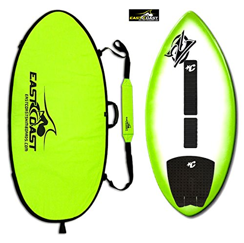 East Coast Skimboards Deluxe Skimboard Package - Zap Wedge Medium 45' - Green Halo Design - Rider Weight Limit 140 lbs