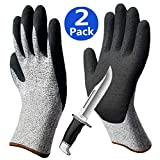 Level 2 Cut Resistant Garden Gloves, Non-Slip Breathable Work Gloves, Grip Coating Durable for Gardening Construction Mechanic Auto Multipurpose - 2 Pairs