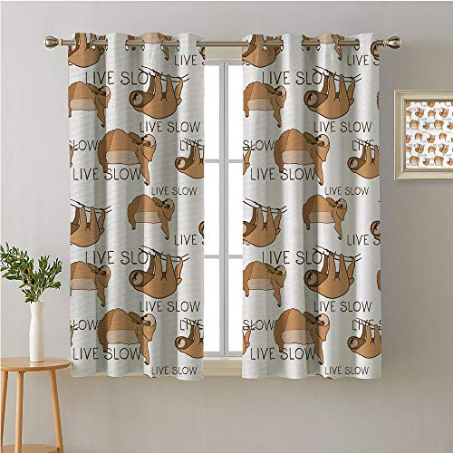 Jinguizi Sloth Fabric The Yard Grommet Room/Bedroom,Brown Throated Animals of South American Rainforests and an Inspirational QuoteDecorative Darkening Curtains63W x 45L
