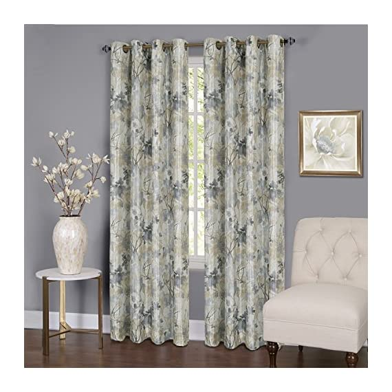 "Achim Home Furnishings Tranquil Lined Grommet Window Curtain Panel, 50"" x 63"", Silver - Measure 50 x 63-inch Each Panel has 8 grommets 98% Blackout lined - living-room-soft-furnishings, living-room, draperies-curtains-shades - 514 NM2Zn6L. SS570  -"