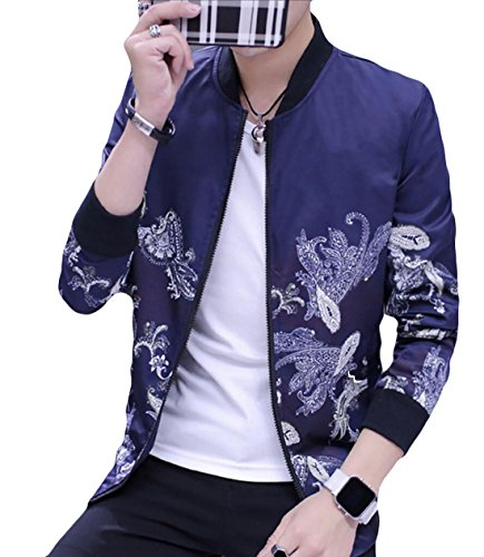 blue Long Print Fashion Mens Navy Bomber Lightweight Jacket Generic Sleeve pUqRwAS