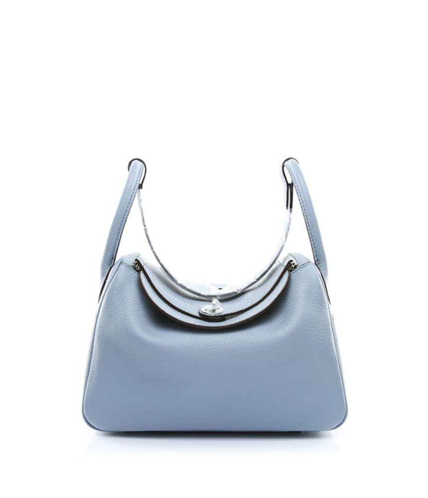 Ainifeel Women's Genuine Leather Shoulder Handbag And Purse Hobo Bag (Grey blue)