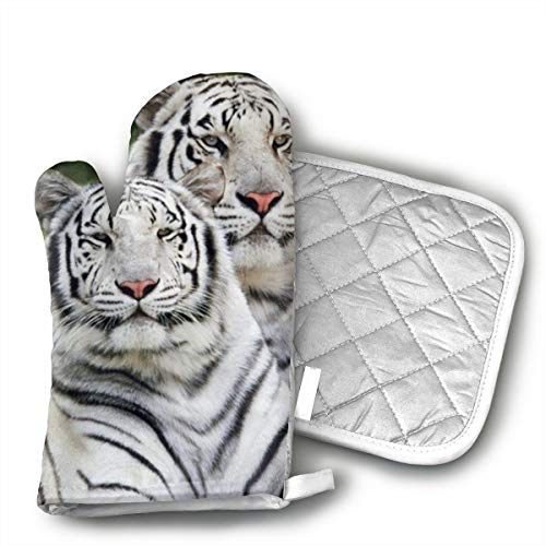 HiHMJ White Tiger Wildcat Zoo Animal Oven Mitts,Heat Resistant Microwave BBQ Oven Insulation Cotton Gloves Baking Pot Mitts Kitchen Cooking