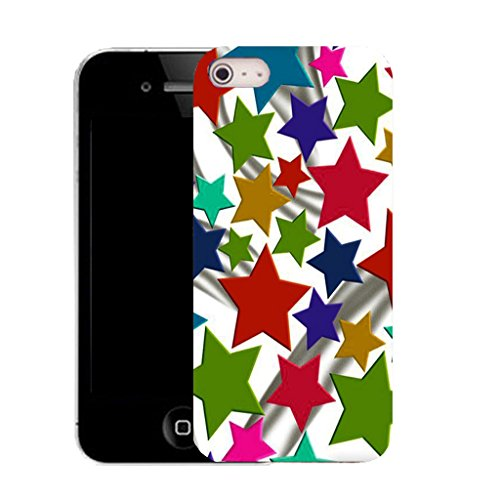 Mobile Case Mate IPhone 5S clip on Silicone Coque couverture case cover Pare-chocs + STYLET - coloured stars pattern (SILICON)
