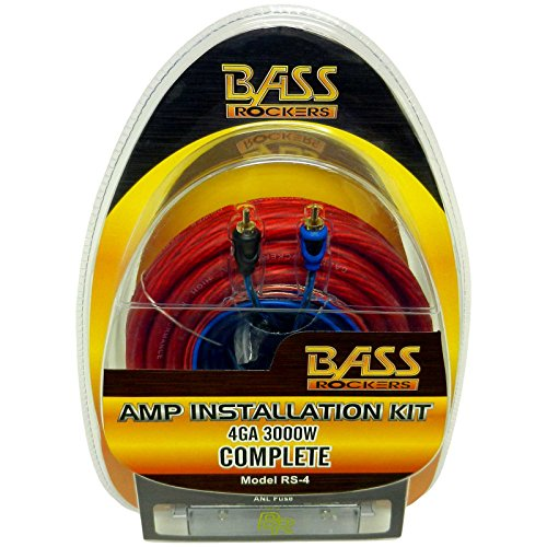 - Bass Rockers RS-4: 4 AWG 3000 Watts Complete Amplifier Installation Kit, Real 4 American Wire Gauge 3000W Amp Install Kit Set