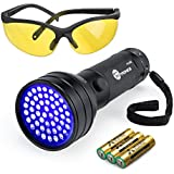 TaoTronics Black Light, UV Flashlights 51 Ultravilot Urine Detector for dogs, Free UV Sunglasses and Duracell Batteries included, Pet Stain Detector, Dog Urine Remover, Bed Bug Detector