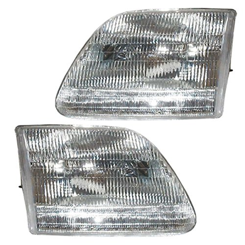 1997-02 Ford Expedition, 1997-1994 F150 (Except Harley Davidson, Lightning or Heritage Models) & 1997-2000 F250 & Super Duty (Under 8600 GVW From 7/96 Production Date) Pickup Truck Headlight Headlamp Composite Halogen Front Head Light Lamp Set Pair Left Driver And Right Passenger Side