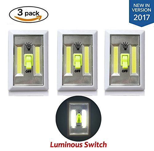 [New Version] TOMOL Super Bright COB LED Cordless Switch Light, Tap Light, Battery Operated LED Night lights, Under Cabinet, Shelf, Closet, Nightlight Kitchen RV 3-pack