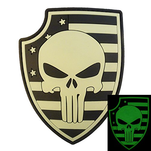 3D Glow Dark Punisher Shield Thin Blue Line USA Flag PVC Rubber Hook&Loop Patch - Dark Blue Protective Shield
