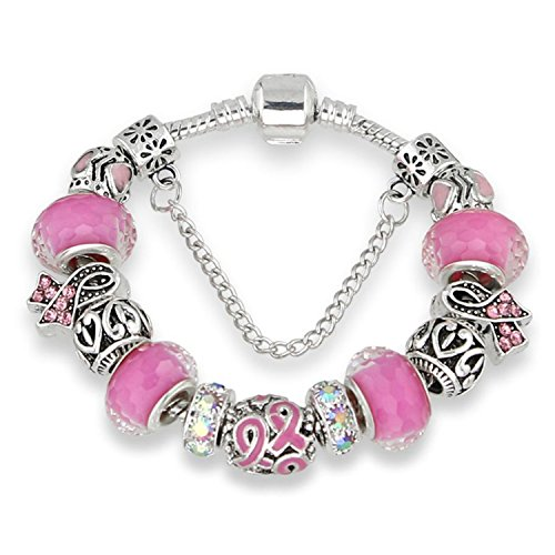 YouzhiWan007 Antique Silver bracelets for women Murano Glass Bead Crystal New Breast Cancer Awareness Pink Ribbon Charms Bracelet Purple