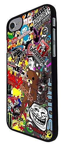 """000235 - Cool Fun Cartoon Stickerbomb Sticker Bomb Design iphone 7 4.7"""" Hülle Fashion Trend Case Back Cover Metall und Kunststoff - Schwarz"""