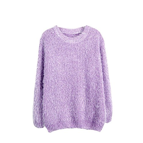 Sunsent Women's Casual Loose Knit Loose Fluffy Mohair Pullover Jumper Sweater Tops