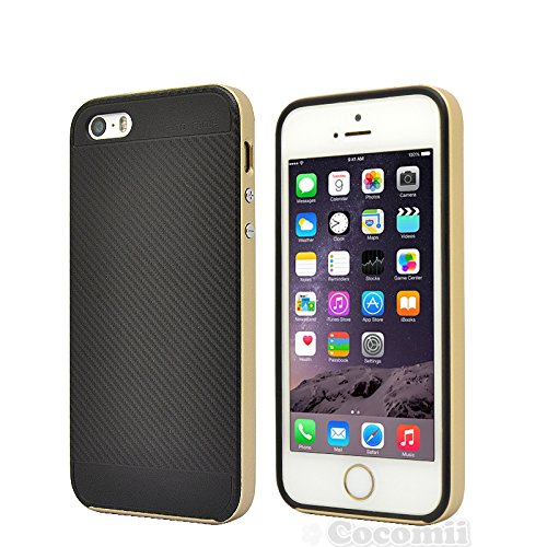 iPhone SE / 5S / 5 Case, Cocomii Demon Armor NEW [Heavy Duty] Premium Carbon Fiber Slim Fit Shockproof Hard Bumper Shell [Military Defender] Full Body Dual Layer Rugged Cover Apple (Gold)