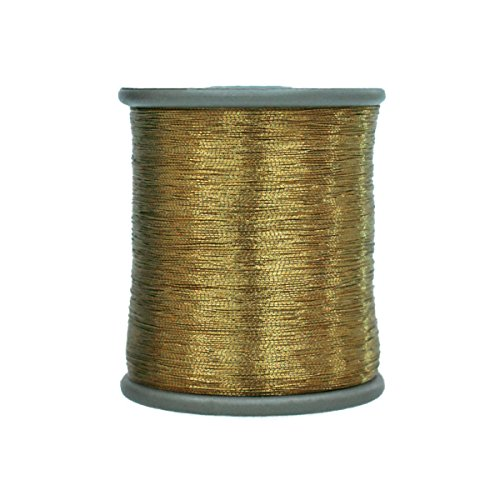 Metallic Thread for Embroidery, Sewing and Jewelry Making, 0.1MM, Pack of 2 Roll (Antique ()