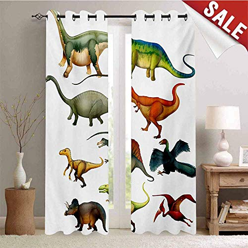 Hengshu Dinosaur Room Darkening Wide Curtains Various Different Ancient Animals from Jurassic Period Cartoon Collection Mammals Waterproof Window Curtain W96 x L108 Inch Multicolor