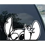 """Auto Sticker - Auto Decal - Disney Character - Lilo - Stitch - Waiving - Auto Window Sticker Decal for Car Truck SUV Motorcycle 8"""" x 5"""" Tall (Color : White) (White 01) (Disney7)"""