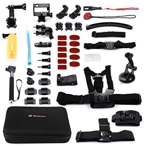 Powerextra 45-in-1 Accessories Kit Chest Harness Mount + Head Mount + Suction Cup Mount + Selfie Stick + Floating Hand Mount for Gopro Hero 5/4/ 3+/ 3/2 SJ4000 SJ5000 SJ6000 Camera