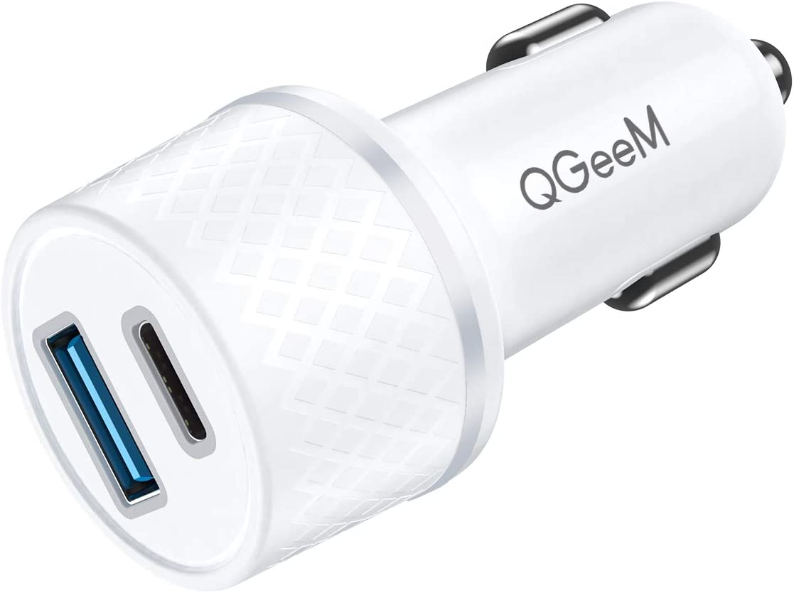 USB C Car Charger Adapter,QGeeM 36W 2 Port Fast Car Charger with Power Delivery & Quick Charge 3.0 Compatible with iPad Pro 2020,iPhone,MacBook and More,Car Charger Adapter(White)